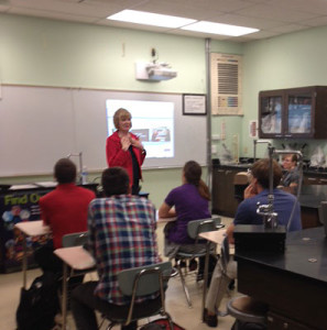 Nancy Larson speaks to students in Dr. Kimberly Staples's secondary science methods class.