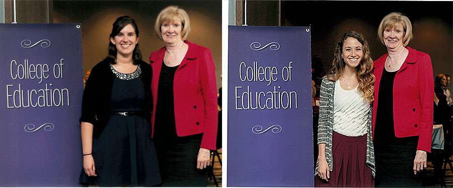 Nancy Larson with Clarissa Corkins (left) and Katie Cook (right)