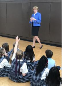 Author Nancy Larson speaks to students